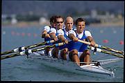 Sydney, AUSTRALIA, ITA M4- Silver  Medalist, bow, Valter MOLEA, Riccardo DEI ROSSI, Lorenzo CARBONCINI  and Carlo MORNATI (s) 2000 Olympic Regatta, West Lakes Penrith. NSW.  [Mandatory Credit. Peter Spurrier/Intersport Images] Sydney International Regatta Centre (SIRC) 2000 Olympic Rowing Regatta00085138.tif