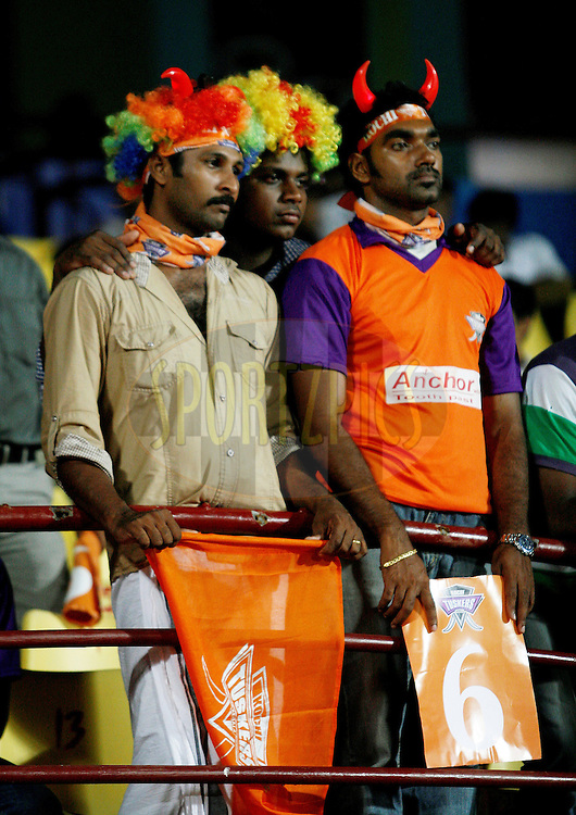 KTK supporters look disappointed as their home team started losing wickets in quick succession in the match 32 of the Indian Premier League ( IPL ) Season 4 between the Kochi Tuskers Kerala and the Deccan Chargers held at the Kallor Jawaharlal Nehru International Stadium in Kochi, Kerala  India on the 27th April 2011..Photo by Vino John/BCCI/SPORTZPICS .