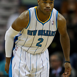 January 29, 2012; New Orleans, LA, USA; New Orleans Hornets point guard Jarrett Jack (2) against the Atlanta Hawks during a game at the New Orleans Arena. The Hawks defeated the Hornets 94-72.  Mandatory Credit: Derick E. Hingle-US PRESSWIRE