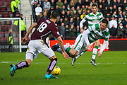 Celtic FC Midfielder Callum McGregor gets wiped out by Hearts FC Defender Igor Rossi Branco during the Ladbrokes Scottish Premiership match between Heart of Midlothian and Celtic at Tynecastle Stadium, Gorgie, Scotland on 27 December 2015. Photo by Craig McAllister.