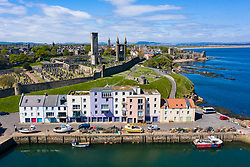 Aerial view of St Andrews Harbour and city in St Andrews , Fife, Scotland, UK
