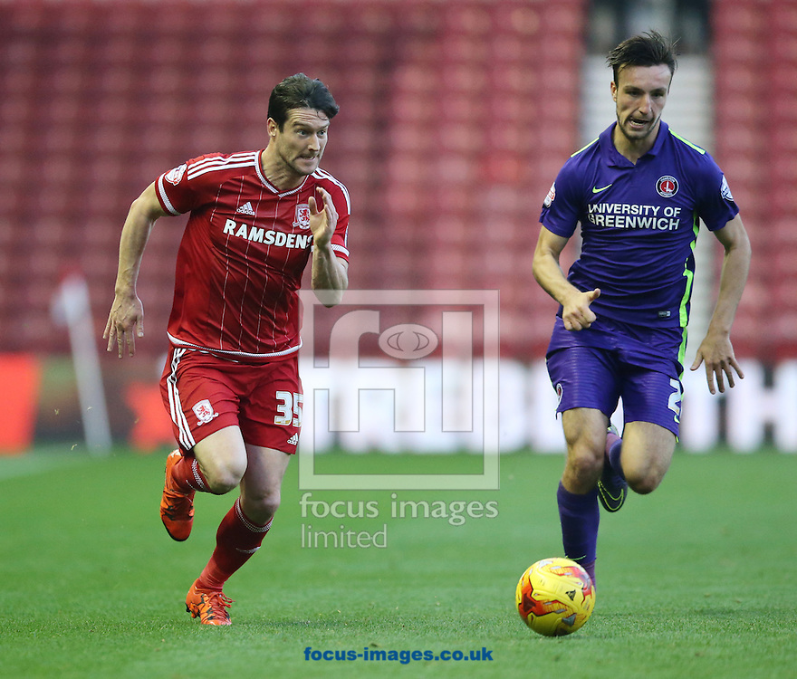 David Nugent (l) of Middlesbrough and Morgan Fox of Charlton Athletic during the Sky Bet Championship match at the Riverside Stadium, Middlesbrough<br /> Picture by Simon Moore/Focus Images Ltd 07807 671782<br /> 31/10/2015