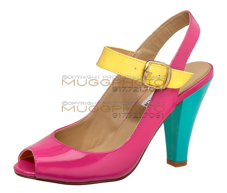 steve madden high heeled hot pink and yellow and blue shoe