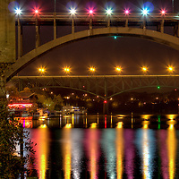 Henley Street (foreground) & Gay Street (background)Bridges at nightfall in downtown Knoxville, Tn.