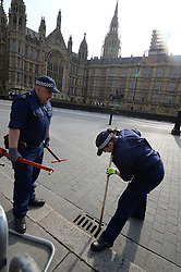 Security checks take place in Westminster ahead of the State Opening of Parliament, in the House of Lords at the Palace of Westminster in London.