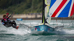 2012 Olympic Games London / Weymouth<br /> 49er racing course<br /> Morrison Stephen, Rhodes Ben, (GBR, 49er)