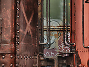 Retired boxcars at Steamtown, USA, National Park.
