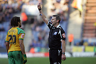 Leicester - Saturday, February 16th, 2008: Referee Clive Oliver gives Norwich City's Darel Russell the red card during the Coca Cola Champrionship match at the Walkers Stadium, Leicester. (Pic by Mark Chapman/Focus Images)
