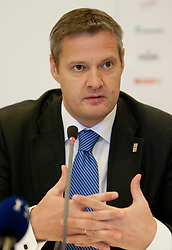 Olafur Rafnsson, president of FIBA Europe  during press conference at Eurobasket 2013 Candidate presentation of Slovenia at FIBA EUROPE Board on December 05, 2010 in Munich, Germany. The Board decided that Eurobasket 2013 will be hold in Slovenia. (Photo By Vid Ponikvar / Sportida.com)