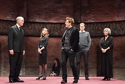 © Licensed to London News Pictures. 08/09/2014. London, England. L-R: Tim Pigott-Smith as Charles, Lydia Wilson as Kate, Richard Goulding as Harry, Oliver Chris as William and Margot Leicester as Camilla. King Charles III, a play in blank verse by Mike Bartlett and directed by Rupert Goold has now transferred from the Almeida to Wyndham's Theatre, London. With Tim Pigott-Smith as Charles. Photo credit: Bettina Strenske/LNP