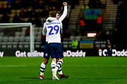 Preston North End forward Tom Barkhuizen (29) scores a goal and celebrates to make the score 2-1 during the EFL Cup match between Preston North End and Middlesbrough at Deepdale, Preston, England on 25 September 2018.
