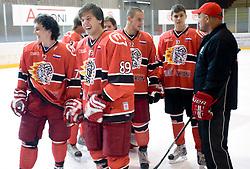Andrej Zidan, Rok Ticar, Jure Dolinsek, Peter Bizalj and Darko Prusnik at HK Acroni Jesenice Team roaster for 2009-2010 season,  on September 03, 2009, in Arena Podmezaklja, Jesenice, Slovenia.  (Photo by Vid Ponikvar / Sportida)