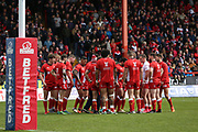 Hull Kingston Rovers players in a pre-match huddle during the Betfred Super League match between Hull Kingston Rovers and Leeds Rhinos at the Lightstream Stadium, Hull, United Kingdom on 29 April 2018. Picture by Mick Atkins.