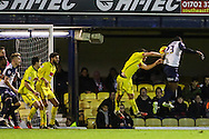 Jerome Williams of Southend United (right) heads goal-wards during the Sky Bet League 2 match at Roots Hall, Southend<br /> Picture by David Horn/Focus Images Ltd +44 7545 970036<br /> 10/01/2015