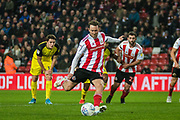 GOAL. Aiden McGeady of Sunderland FC shoots from the penalty spot and scores during the EFL Sky Bet League 1 match between Sunderland and Burton Albion at the Stadium Of Light, Sunderland, England on 26 November 2019.