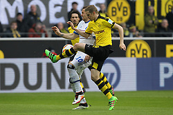 17.04.2016, Signal Iduna Park, Dortmund, GER, 1. FBL, Borussia Dortmund vs Hamburger SV, 30. Runde, im Bild Pierre-Michel Lasogga (#10, Hamburger SV) mit Sven Bender (#6, Borussia Dortmund)Pierre-Michel Lasogga (#10, Hamburger SV) mit Sven Bender (#6, Borussia Dortmund) // during the German Bundesliga 30th round match between Borussia Dortmund and Hamburger SV at the Signal Iduna Park in Dortmund, Germany on 2016/04/17. EXPA Pictures © 2016, PhotoCredit: EXPA/ Eibner-Pressefoto/ Deutzmann<br /> <br /> *****ATTENTION - OUT of GER*****