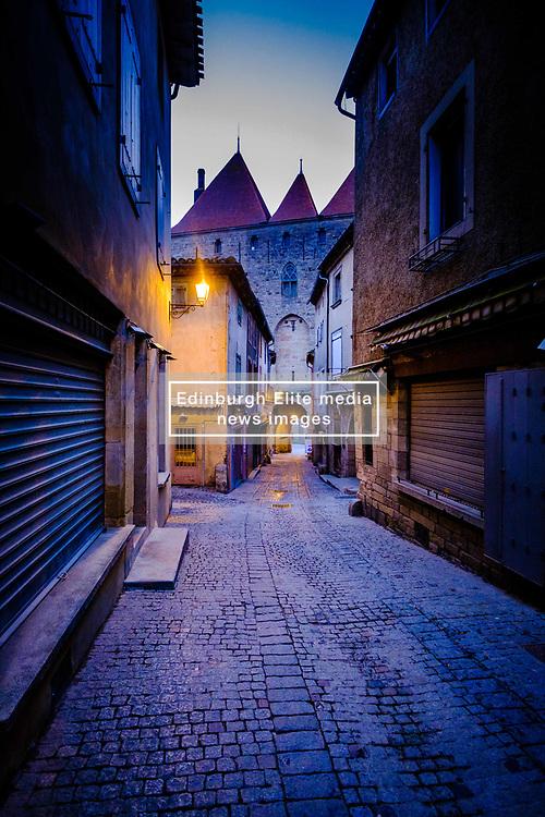 Early morning before dawn in the medieval  Cité de Carcassonne in France<br /> <br /> (c) Andrew Wilson | Edinburgh Elite media