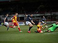 16th December 2017, Dens Park, Dundee, Scotland; Scottish Premier League football, Dundee versus Partick Thistle; Partick Thistle's Niall Keown blocks Dundee's Sofien Moussa's shot
