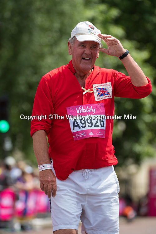 Jeremy Barham finishes in the Olympian Wave at the finishing line outside Buckingham Palace at The Vitality Westminster Mile, Sunday 28th May 2017.<br /> <br /> Photo: Thomas Lovelock for The Vitality Westminster Mile<br /> <br /> For further information: media@londonmarathonevents.co.uk