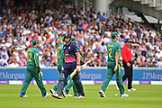 Joss Butler of England departs as England crash to 20 for 5 during the Royal London ODI match between England and South Africa at Lord's Cricket Ground, St John's Wood, United Kingdom on 29 May 2017. Photo by Jon Bromley.