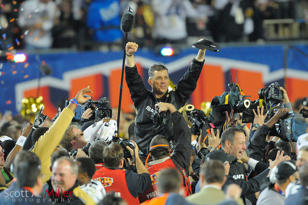 Miami, FL, USA; New Orleans Saints head coach Sean Payton is carried onto the field after his team beat the Indianapolis Colts 31-17 in Super Bowl XLIV at Sun Life Stadium on Feb 7, 2010...©2010 Scott A. Miller