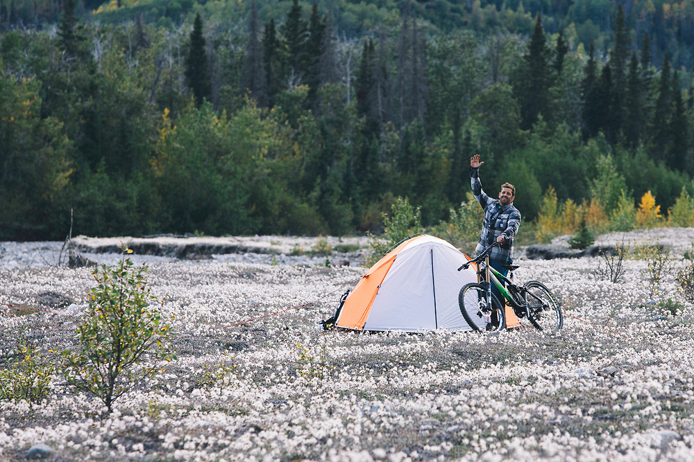 Wade Simmons photographed at camp in the Tatshenshini-Alsek Provincial Park in British Columbia, Canada on September 2, 2016.