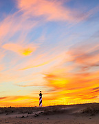 Sunset sky at Cape Hatteras Lighthouse on the Outer Banks of NC.