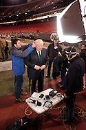 John Madden gets ready to do a interview before the last Monday Night Football game on ABC between the New York Jets and the New England Patriots at Giants Stadium, in East Rutherford NJ Monday 26 December 2005