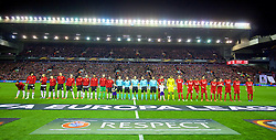 LIVERPOOL, ENGLAND - Thursday, March 10, 2016: Liverpool and Manchester United players line-up before the UEFA Europa League Round of 16 1st Leg match against Manchester United at Anfield. (Pic by David Rawcliffe/Propaganda)