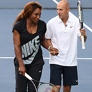Serena Williams and Matt Lauer as reigning US Open Tennis Champions Andy Murray and Serena Williams take part in a 'doubles' match with TODAY co hosts Matt Lauer and Savannah Guthrie. Flushing. New York, USA. 22nd August 2013. Photo Tim Clayton