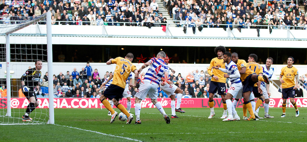 LONDON, ENGLAND - Saturday, March 3, 2012: Everton's John Heitinga misses a big chance against Queens Park Rangers during the Premiership match at Loftus Road. (Pic by Vegard Grott/Propaganda)