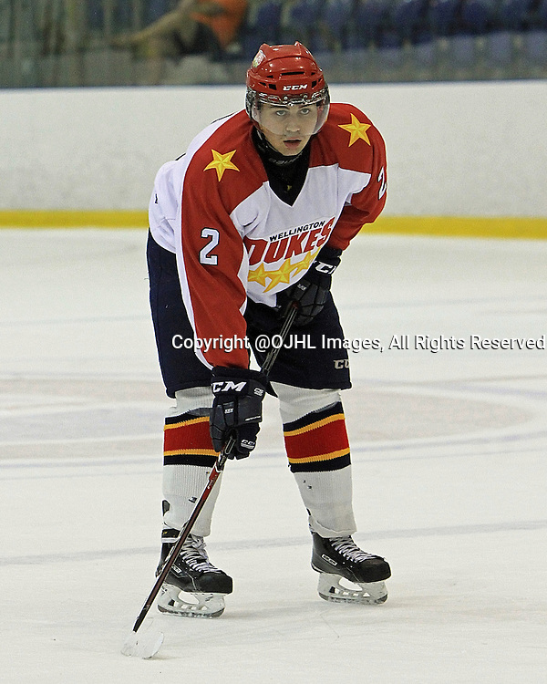 KINGSTON, ON - Sep 25, 2014 : Ontario Junior Hockey League game action between Wellington and Kingston, Francesco Tolfa #2 of the Wellington Dukes Hockey Club during second period game action<br /> (Photo by Ed McPherson / OJHL Images)