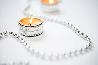 Tea light Candles and Silver Garland close up