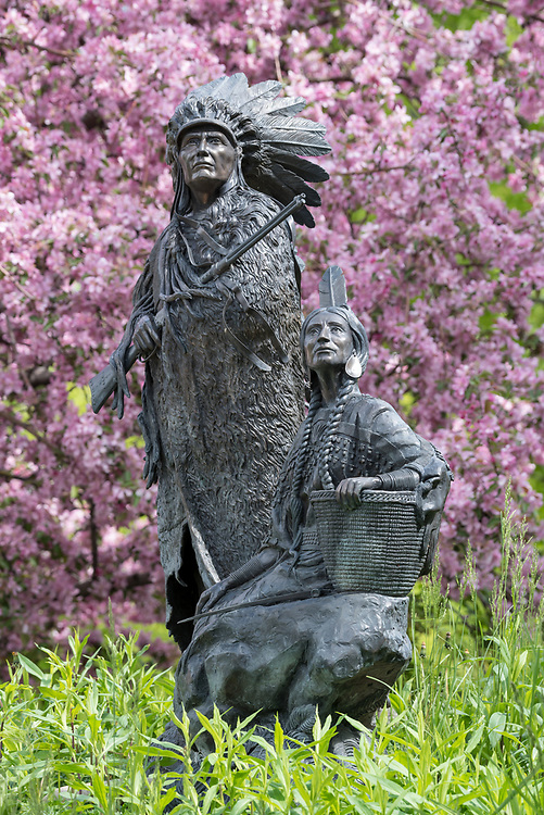 """Springtime"" bronze sculpture by David Manual in the town of Joseph, Oregon."