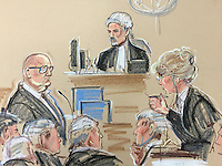 Harry Clarke, driver of the Glasgow Bin Lorry that killed 6 people takes the witness stand.<br /> <br /> Here questioned by Lesley Thomson, for the Crown Judge seated middle, Harry Clarke in witness box