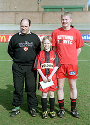 MASCOT WITH PETER MORRIS AND COLIN VOWDEN, Kettering Town v Bishop Auckland FA Trophy Rockingham Road 11th March 2000
