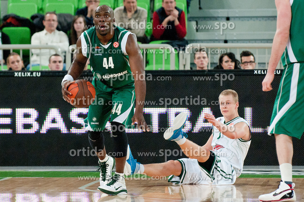 Henry Domercant of Unics Kazan commits foul on Sasu Salin of Union Olimpija during basketball match between KK Union Olimpija and Unics Kazan (RUS) of 10th Round in Group D of Regular season of Euroleague 2011/2012 on December 21, 2011, in Arena Stozice, Ljubljana, Slovenia. Unics Kazan defeated Union Olimpija 76:63.(Photo by Matic Klansek Velej / Sportida)