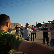August 18, 2012 - Marea, Aleppo, Syria: A recently created rebel militia (katiba) trains for the first time in the village of Marea. The katiba is called Ibnu Walid, was created by the local Sheik, Abu Mariam and incorporates 25 fighters. The Katiba intend to be an elite group to perform guerrilla style operations against syrian army troops in the province of Aleppo. (Paulo Nunes dos Santos/Polaris)