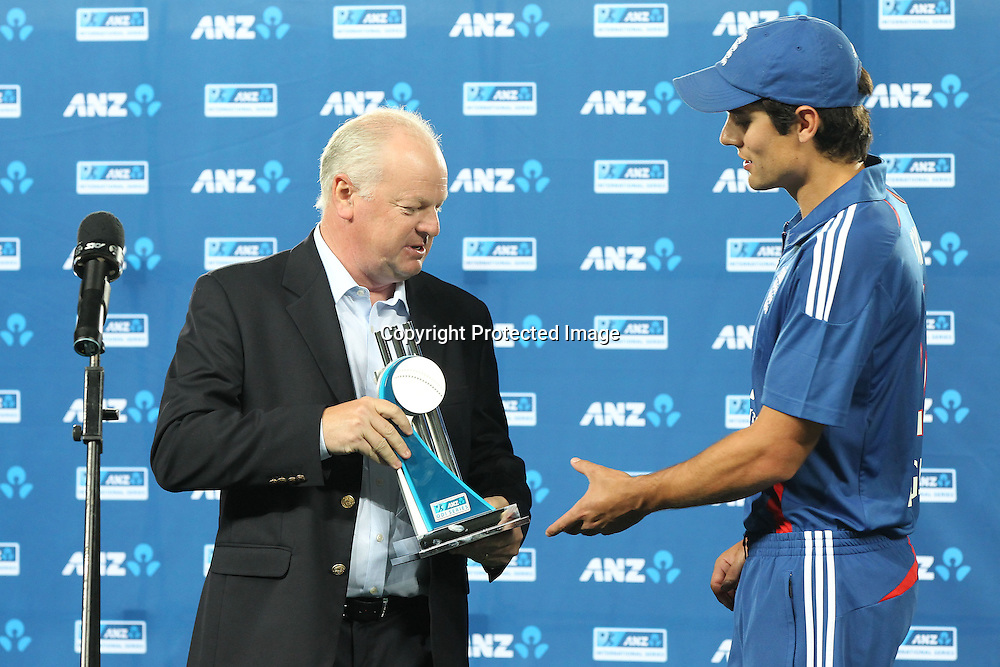 ANZ CEO David Hisco presents the trophy to England captain Alastair Cook. ANZ family fun day. ANZ Cricket series ODI cricket England v Black Caps at Eden Park, Auckland, New Zealand. Saturday, February 23, 2013. Photo: Fiona Goodall/photosport.co.nz