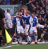 Fotball, Blackburn  Matt Jansen (#10) celebrates scoring the equalizer.