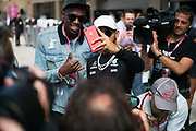 October 19-22, 2017: United States Grand Prix. Lewis Hamilton (GBR), Mercedes AMG Petronas Motorsport, F1 W08 and Olympic Sprinter Usain Bolt