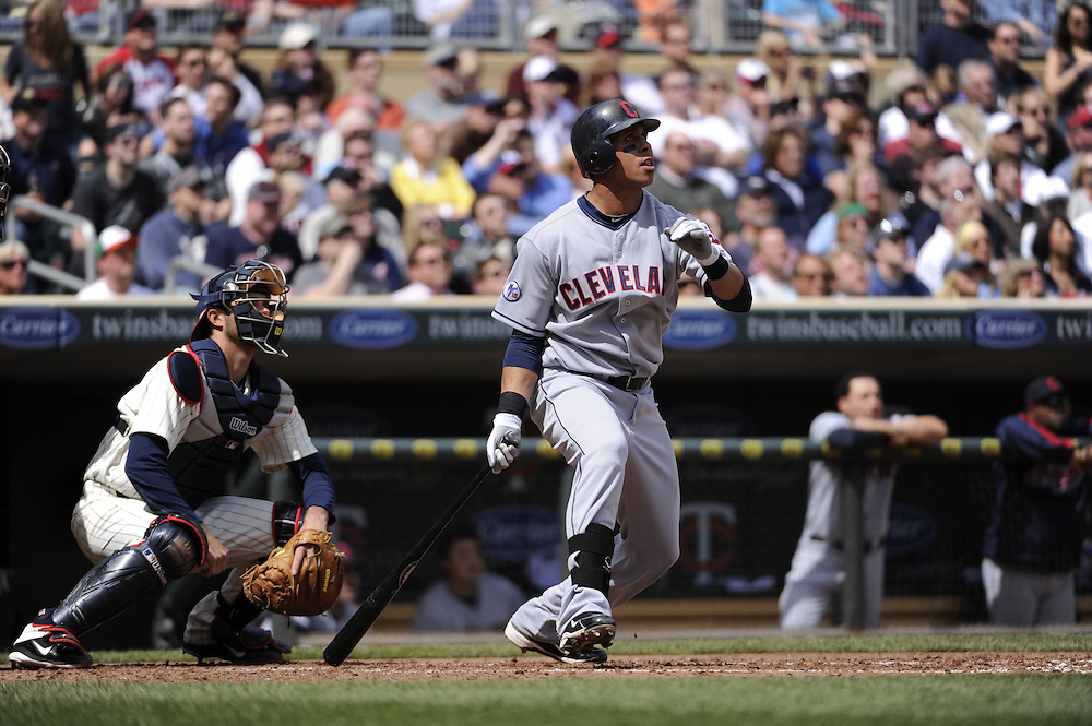 MINNEAPOLIS - APRIL 24:  Asdrubal Cabrera #13 of the Cleveland Indians bats against the Minnesota Twins on April 24, 2011 at Target Field in Minneapolis, Minnesota.  The Twins defeated the Indians 4-3.  (Photo by Ron Vesely)  Subject:  Asdrubal Cabrera