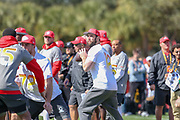 Jan 25, 2019; Kissimmee, FL, USA; Indianapolis Colts quarterback Andrew Luck getting ready to pass the ball during NFC practice for the 2019 Pro Bowl at ESPN Wide World of Sports Complex. (Kim Hukari/Image of Sport)