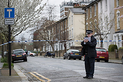 © Licensed to London News Pictures.20/03/2017.London, UK. Wilberforce Road remains closed as police continue to investigate after a one baby was found dead and another seriously injured in Finsbury Park, East London. Bidhya Sagar Das, 33, believed to be the children's father, has been arrested. Photo credit: Peter Macdiarmid/LNP