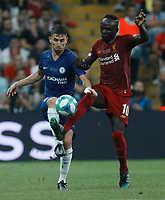 ISTANBUL, TURKEY - AUGUST 14: Sadio Mane (R) of Liverpool and Jorginho of Chelsea vie for the ball during the UEFA Super Cup match between Liverpool and Chelsea at Vodafone Park on August 14, 2019 in Istanbul, Turkey. (Photo by MB Media/Getty Images)