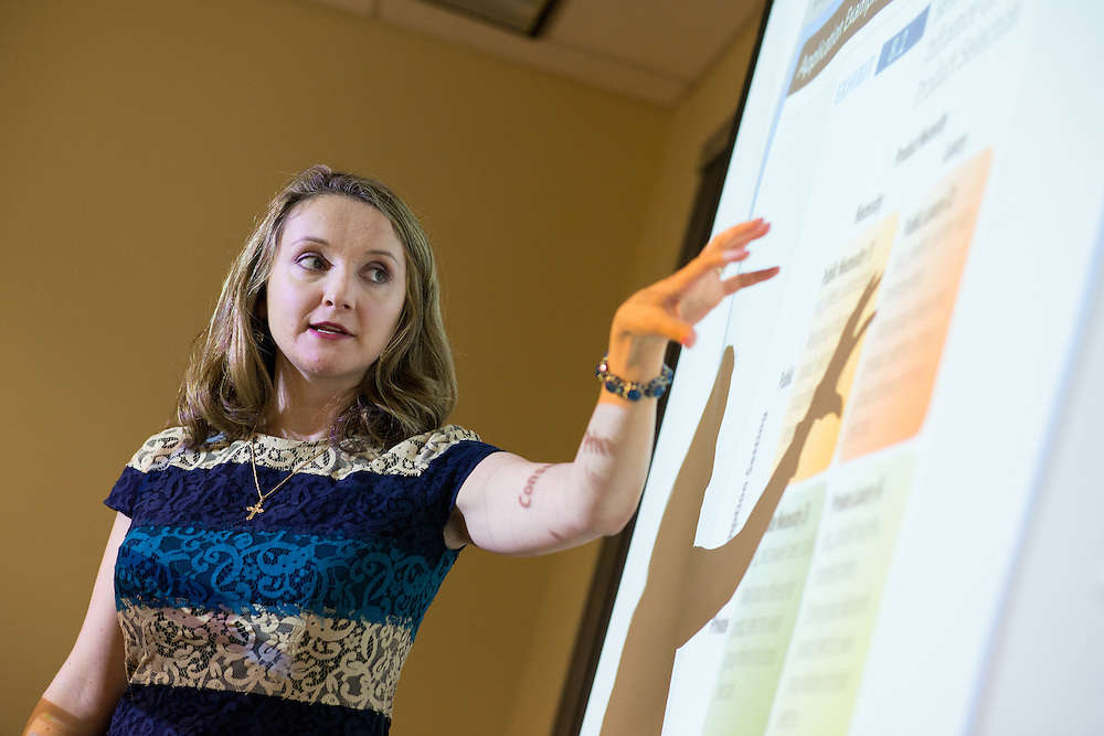Photographs of Dr. Alexa Fox during a lecture for the Ohio University College of Business in Grover Center at the Ohio University campus in Athens, Ohio on Oct. 13, 2015.<br /> <br /> [Photograph by Joel Prince]