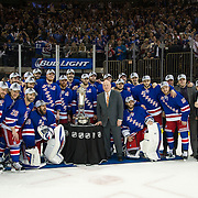 May 29 2014:  The New York Rangers pose with The Prince of Wales Trophy after defeating The Montreal Canadiens 1-0 during game six of the Eastern Conference Finals to advance to The Stanley Cup Finals at  Madison Square Garden in Manhattan, New York .The New York Rangers defeat The Montreal Canadiens 1-0 to advance to the Stanley Cup Finals.  Mandatory Credit: Kostas Lymperopoulos/Cal Sport Media, (Credit Image: © Kostas Lymperopoulos/Cal Sport Media)