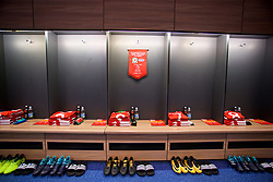 CARDIFF, WALES - Saturday, September 2, 2017: The Wales shirts laid out in the dressing room before the 2018 FIFA World Cup Qualifying Group D match between Wales and Austria at the Cardiff City Stadium. (Pic by David Rawcliffe/Propaganda)