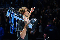 Tennis - 2018 Nitto ATP Finals at The O2 - Day Eight<br /> <br /> Final Singles: Novak Djokovic (SRB) vs. Alexander Zverev (GER)<br /> <br /> Zverev does a lap of honour after his 6-4, 6-3 victory.<br /> <br /> COLORSPORT/ASHLEY WESTERN