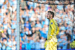 Manchester United's David De Gea cuts a dejected figure as Manchester City's Yaya Toure scores the second goal to make it 2 - 0 - Photo mandatory by-line: Dougie Allward/JMP - Tel: Mobile: 07966 386802 22/09/2013 - SPORT - FOOTBALL - City of Manchester Stadium - Manchester - Manchester City V Manchester United - Barclays Premier League